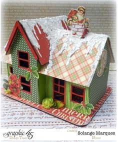 Beautiful altered Christmas house by Solange using 'Twas the Night Before Christmas #graphic45
