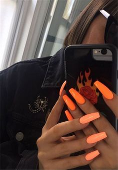 Simple Acrylic Coffin Nails Designs Ideas For Your 2019 - # . - Simple Acrylic Coffin Nails Designs Ideas For Your 2019 – # … Simple Acrylic Coffin Nails Designs Ideas For Your 2019 – # For Matte Nails Acrylic, Summer Acrylic Nails, Acrylic Nail Designs, Acrylic Art, Bright Acrylic Nails, Bright Nails Neon, Neon Orange Nails, Classy Nails, Simple Nails