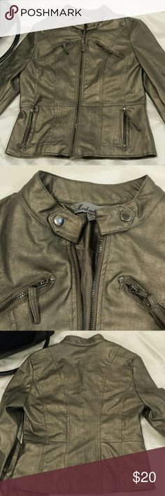 Leather look jacket Jacket with zippers, all working. Shimmer dark gold. No sign of wear. 100% polyurethane shell, 100% polyester lining. Jackets & Coats Utility Jackets