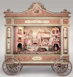 For part of his exhibition The Gay Nineties West at the Kohn Gallery in Los Angeles CA, American artist Mark Ryden created Memory Lane – a strange and wonderful diorama that accepts a penny and plays the. Mark Ryden, Arte Lowbrow, Toy Theatre, Jeff Koons, American Artists, Oeuvre D'art, Altered Art, Puppets, Art Dolls
