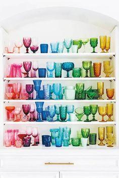 Elsie Larson's Nashville Home rainbow glassware Table Vintage, Vintage Home Decor, Diy Home Decor, Quirky Home Decor, Modern Decor, Home Decor Accessories, Decorative Accessories, Decorative Accents, Best Design Blogs