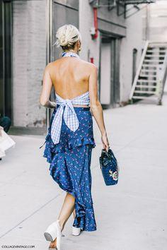 nyfw-new_york_fashion_week love the mix of patterns -- midi skirt w/halter