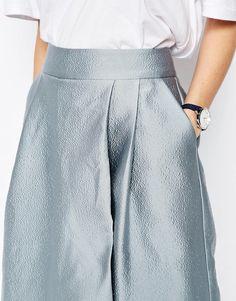 Image 3 ofASOS WHITE Textured Satin Wide Leg Culottes