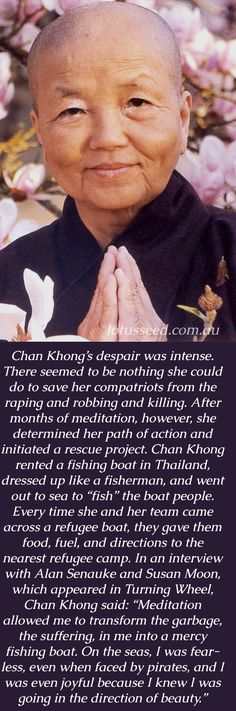 Sister Chan Khong is the first fully-ordained monastic disciple of Zen Master Thich Nhat Hanh, and the director of his humanitarian projects since the 1960's - lotusseed.com.au