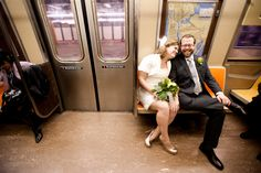 All the cool NYC couples take the subway to city hall on their wedding days.