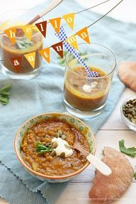 Curried Pumpkin Lentil Soup. #vegan, low-fat and around 200 calories for a big bowl for dinner. Add garlic powder and salt because if a little bland. Serve with rolls for a great meal!