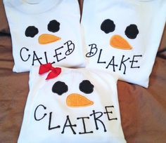 Cute snowman shirt, but it is never a good idea to put your child's name on their clothing like this.
