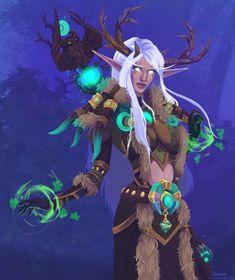 Night Elf Druid by AzuraLynx on DeviantArt Warcraft Heroes, World Of Warcraft 3, World Of Warcraft Characters, Warcraft Art, Cosplay Characters, Dnd Characters, Character Inspiration, Character Art, Dnd Druid
