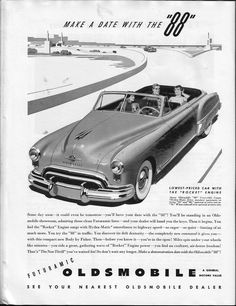 """Make a Date With the """"88"""" 1949 #Oldsmobile 88 ad from the Philadelphia & National Antique Auto Show program"""