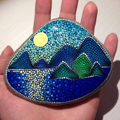 Big Sunset above the sea Painted stone painted rock Fairy garden marker decoration stone art dotilism blue Sunset above the sea Painted stone painted by CreateAndCherish Stone Art Painting, Dot Art Painting, Mandala Painting, Pebble Painting, Pebble Art, Mandala Painted Rocks, Painted Rocks Craft, Mandala Rocks, Hand Painted Rocks
