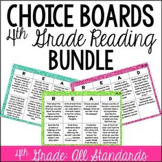 This resource is a bundle that includes 25 choice boards for all of the literature and informational standards for 4th Grade.Click here to the see the 3rd grade version of this resource.Click here to the see the 5th grade version of this resource.Click here to see math choice boards for 4th grade.The informational set includes 13 choice boards: 10 mini choice boards for each 4th grade common core informational standard and 3 choice boards written by domain with the standards grouped.The…