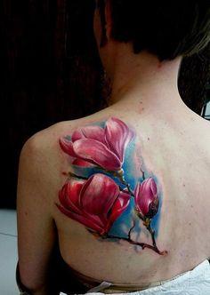 D Colorful Magnolia Tattoo - 50  Magnolia Flower Tattoos  <3 <3