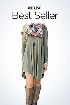 c34729b137d46 DEARCASE Women s Long Sleeve Casual Loose T-Shirt Dress