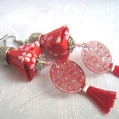 Nouvelle collection! boucles d'oreilles argentées rouge et blanc - collection «kolinga»