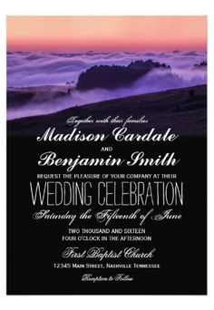 Purple Clouds Sunset Mountain Wedding Invitations for an outdoor country wedding.  40% OFF when you order 100+ Invites.  #rustic #country #wedding