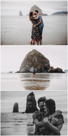 Bethany and Jesse intimate couples session at Haystock Rock on the Oregon Coast at Cannon Beach engagement photos by Marcela Pulido Photography