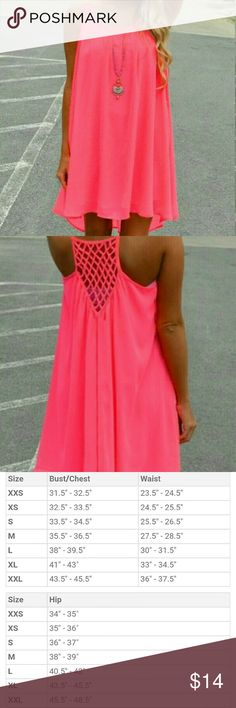 """Neon Peach Summer Dress Great light weight summer dress with spaghetti straps. Dress is knee length. Necklace not included. 3X measurements are 46""""-48"""" and will stretch to 52"""". Still in the package. NWOT Dresses High Low"""