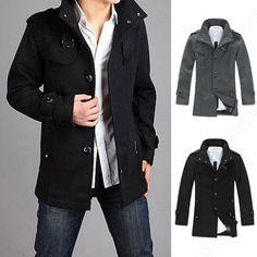 Men's Slim Woolen Long Trench Outerwear Clothes Coat Jacket
