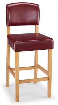 Lepson Kitchen Bar Stool Red Bonded Leather And Oak Wood Frame