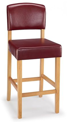 Lepson Kitchen Bar Stool Red Bonded Leather And Oak Wood Frame