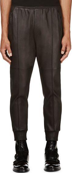 Dsquared2 - Black Leather Jog Trousers   SSENSE