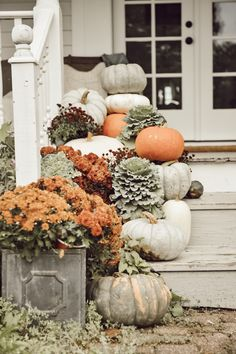 Farmhouse Fall Porch Steps - I LOVE this time of year… fall you ask? No, pumpkins on the porch steps season! Decoration Inspiration, Autumn Inspiration, Decor Ideas, Creative Inspiration, Design Inspiration, Fall Home Decor, Autumn Home, Fall Decor Outdoor, Autumn Fall