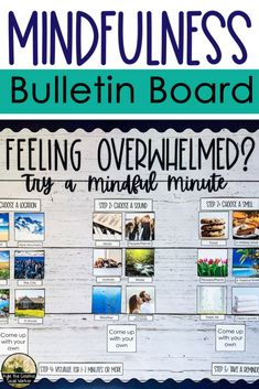 """This bulletin board helps students create a """"mindful minute"""" to use when they are feeling overwhelmed. Counselor Bulletin Boards, Family Bulletin Boards, Health Bulletin Boards, Calendar Bulletin Boards, Christmas Bulletin Boards, Interactive Bulletin Boards, Classroom Bulletin Boards, Preschool Bulletin, Newspaper Bulletin Board"""
