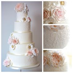 5 tier wedding cake with peach roses and pink peonies. Gold flower detail and white lace piping. By Anna Tyler cakes
