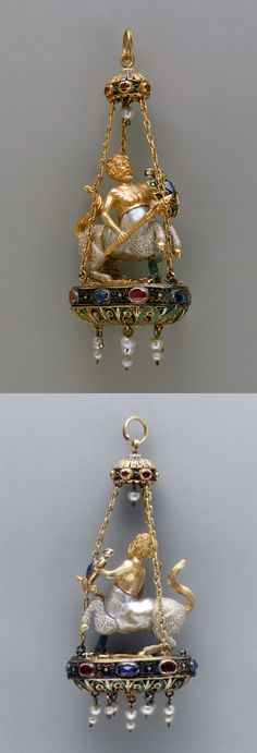 Pendant in the form of a centaur, late 16th–early 17th century, possibly Spanish, baroque pearl with enameled gold mounts set with sapphires and rubies, and with pendent pearls, Height: 3 1/2 in. (8.9 cm)