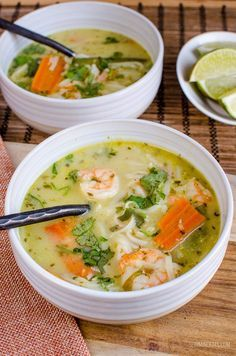 Slimming Eats - Slimming World Recipes Thai Coconut Shrimp Noodle Soup (Instant Pot and Stove Top) Healthy Coconut Shrimp, Coconut Shrimp Recipes, Thai Coconut, Coconut Curry, Shrimp Noodles, Shrimp Soup, Thai Shrimp, Slimming Eats, Slimming World Recipes