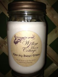 Sweetgrass scented soy.  Willow Moon Cottage