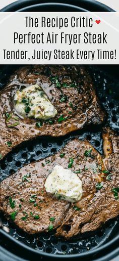 Air Fyer Recipes, Air Fryer Oven Recipes, Air Fryer Dinner Recipes, Cooking Recipes, Ninja Recipes, Air Fryer Steak, Air Fried Food, Air Fryer Healthy, Healthy Recipes