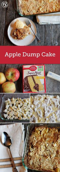 Fresh apples, yellow cake and melted butter combine in this easy-to-make, and easy-to-eat, dessert. It's ready to bake in a short 10 minutes! snacks with apples Apple Dump Cake Cake Mix Desserts, Fall Desserts, Delicious Desserts, Yummy Food, Easy Apple Desserts, Apple Deserts, Homemade Desserts, Health Desserts, Apple Dump Cakes