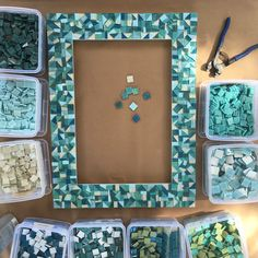 WORK IN PROGRESS: Beach house mosaic mirror is all tiled. Up next grouting.
