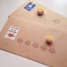 Minuscules tampons oiseau et fleur / Tiny little bird and flower stamps