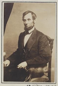 Rarely published pose of President Abraham Lincoln. Photographed at Matthew Brady Studio. (c.1861).