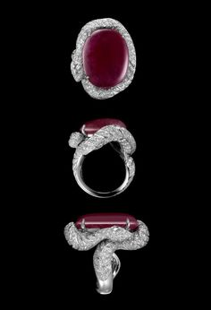 Cartier - XXVIth Biennale des Antiquaires    Ring - platinum, one cabochon-cut 36.74-carat ruby, one pear-shaped rose-cut diamond, brilliants.  Nils Herrmann © Cartier 2012    Luxuriant Landscape  Intense bursts of red, sensual colors and exceptional stones intermingle in a luxuriant landscape. A delicate exaltation of rubies and diamonds that sets the spirits ablaze.