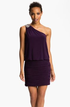 JS Boutique Embellished One Shoulder Blouson Dress (Petite) available at #Nordstrom