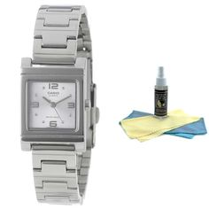 Casio LTP1237D-7A Women's Dress Shell White Dial Stainless Steel Bracelet Watch with 30ml Ultimate Watch Cleaning Kit