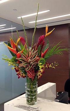 Showstopping tropical floral arrangement. Birds of paradise, ginger, large tropical arrangement.
