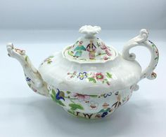 Very rare antique British Dragon teapot, hand painted Asian figures and flowers, around 1830 - Early 19th century British earthenware teapot