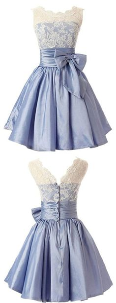 Elegant Scalloped-Edge Knee-Length Blue Homecoming Dress with White Lace Bowknot