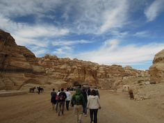 Walking in to Petra with Blue Sky