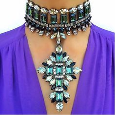 Manerson Boho Multicolored Crystal Chokers Necklace&Pendant Sexy Luxury Collar Wedding Engagement Women Statement Necklace #Affiliate