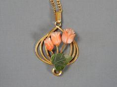 Vintage 12k Gold Filled Carved Jade & Angel Skin Coral Flower Pendant Necklace