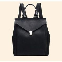 Faux Leather Flap Backpack