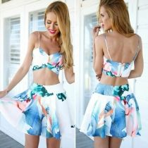 Summer Women Sexy Spaghetti Strap Floral Printing Mini Top And Pleated Skirt 2 PCS Set