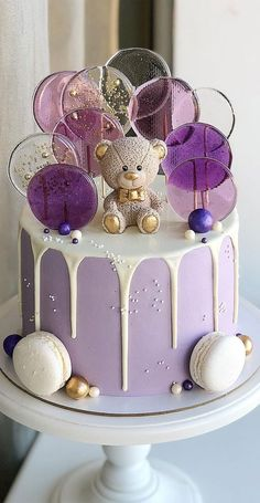 Baby First Birthday Cake, Beautiful Birthday Cakes, Purple Birthday Cakes, Girls 1st Birthday Cake, Buttercream Cake Designs, Buttercream Birthday Cake, Pretty Cakes, Cute Cakes, Cake Designs For Kids