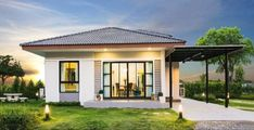 Modern house design is the preferred style this days due to its diversity and elegance. This One storey house has 3 bedrooms and 2 toilet and baths. Two Story House Design, Small House Design, Modern House Design, Small Modern House Plans, Beautiful House Plans, 3 Bedroom Bungalow, Modern Bungalow House, New Model House, Modern Architectural Styles