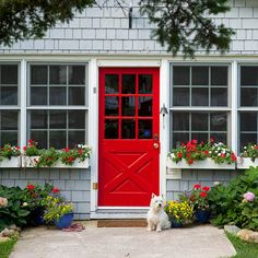 Love this red door and the beautiful window boxes!